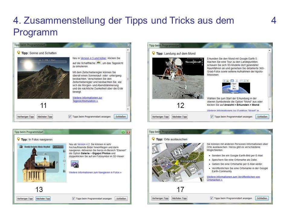 4 1112 1317 4. Zusammenstellung der Tipps und Tricks aus dem Programm