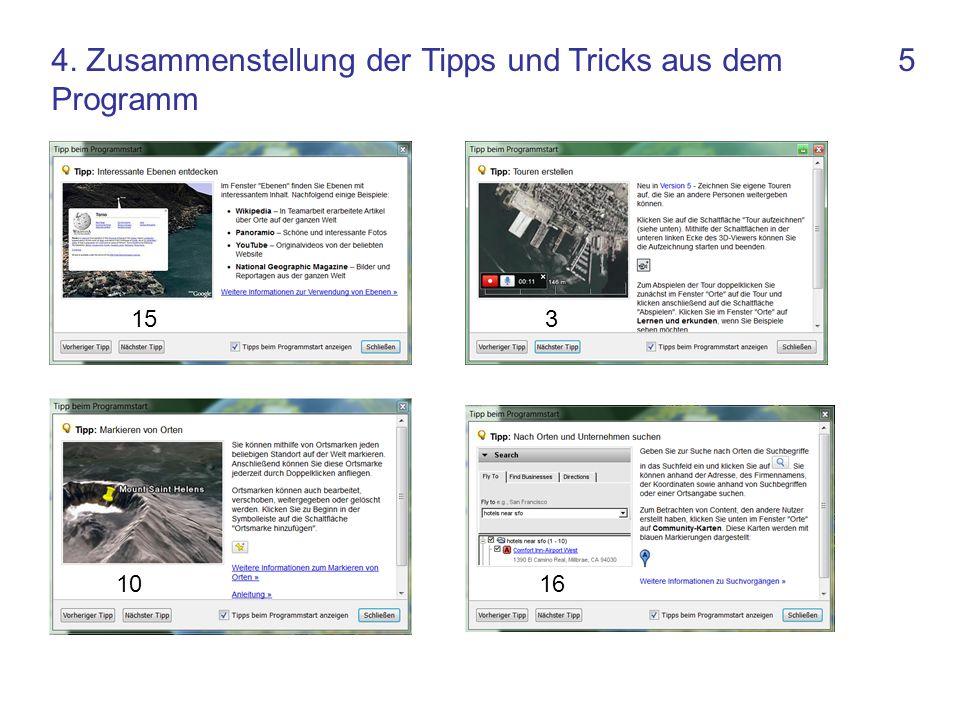 5 16 315 10 4. Zusammenstellung der Tipps und Tricks aus dem Programm