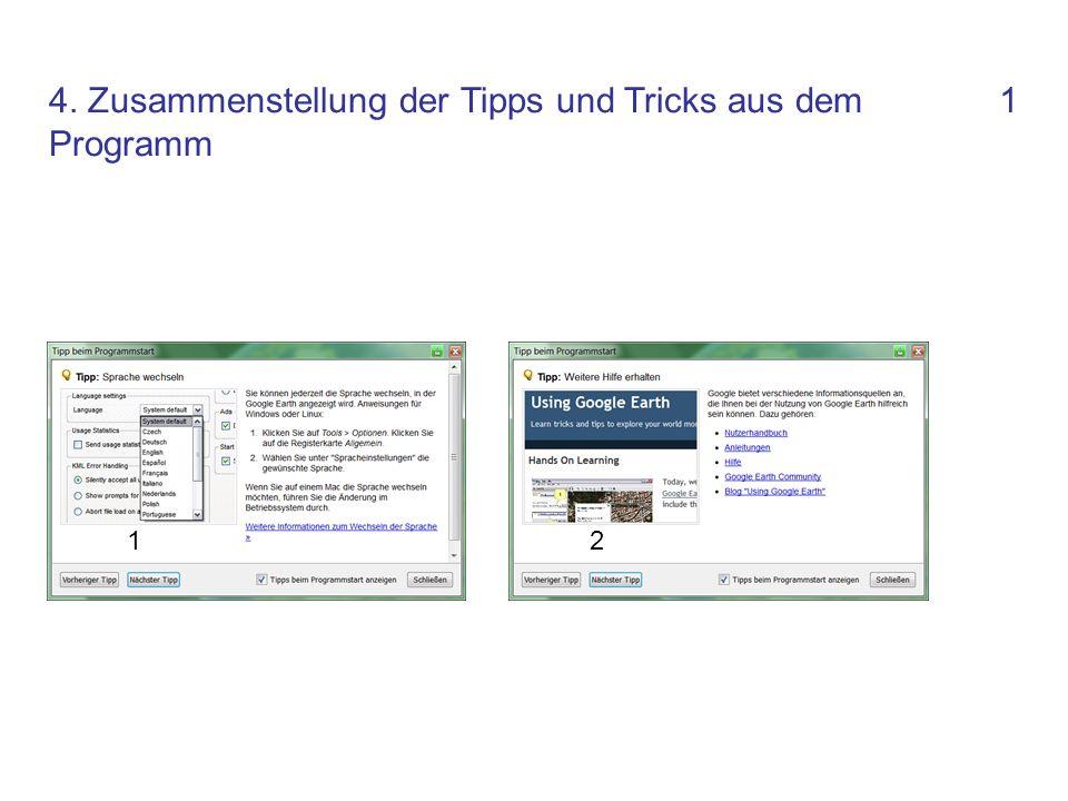 4. Zusammenstellung der Tipps und Tricks aus dem Programm 1 12