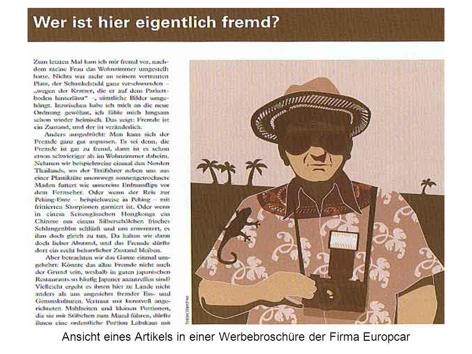 Wer ist hier eigentlich fremd ? Ansicht eines Artikels in einer Werbebroschüre der Firma Europcar