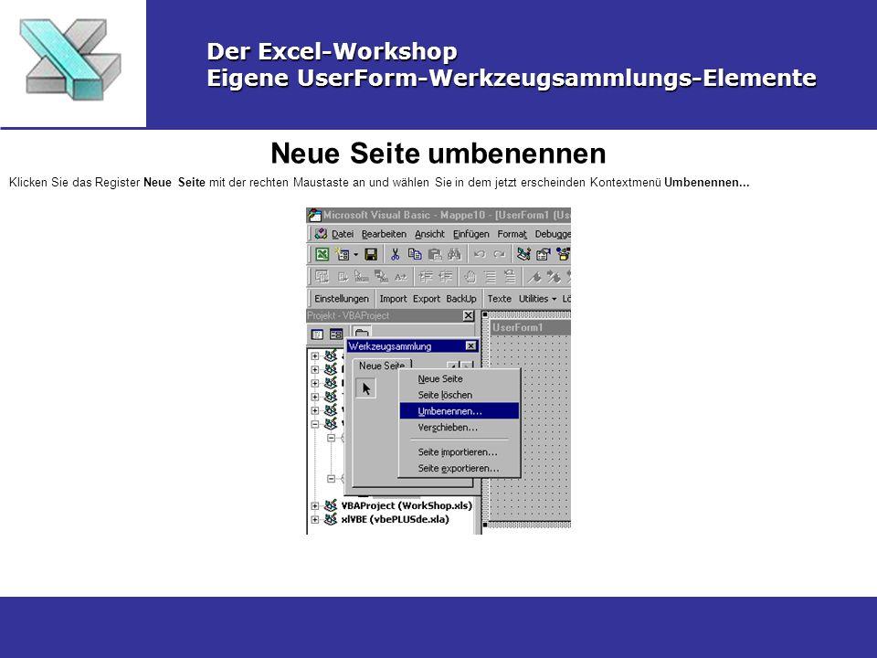 Neue Seite umbenennen Der Excel-Workshop Eigene UserForm-Werkzeugsammlungs-Elemente Klicken Sie das Register Neue Seite mit der rechten Maustaste an u