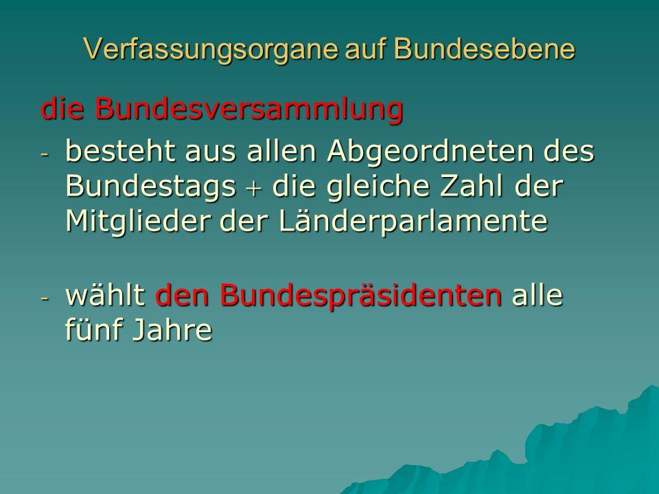 Verfassungsorgane auf Bundesebene die Bundesversammlung - besteht aus allen Abgeordneten des Bundestags die gleiche Zahl der Mitglieder der Länderparl