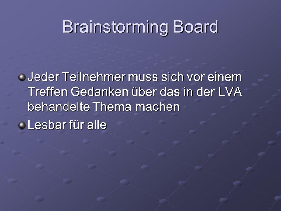 Brainstorming Board Jeder Teilnehmer muss sich vor einem Treffen Gedanken über das in der LVA behandelte Thema machen Lesbar für alle