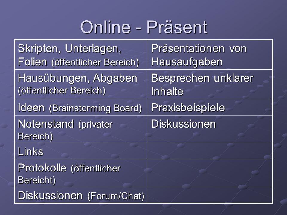 Online - Präsent Skripten, Unterlagen, Folien (öffentlicher Bereich) Präsentationen von Hausaufgaben Hausübungen, Abgaben (öffentlicher Bereich) Bespr
