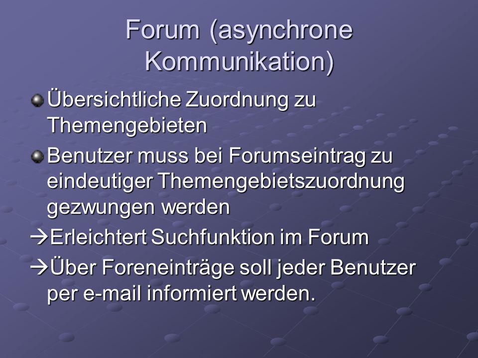 Forum (asynchrone Kommunikation) Übersichtliche Zuordnung zu Themengebieten Benutzer muss bei Forumseintrag zu eindeutiger Themengebietszuordnung gezwungen werden Erleichtert Suchfunktion im Forum Erleichtert Suchfunktion im Forum Über Foreneinträge soll jeder Benutzer per e-mail informiert werden.