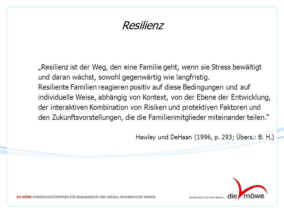 Resilienz ist der Weg, den eine Familie geht, wenn sie Stress bewältigt und daran wächst, sowohl gegenwärtig wie langfristig. Resiliente Familien reag