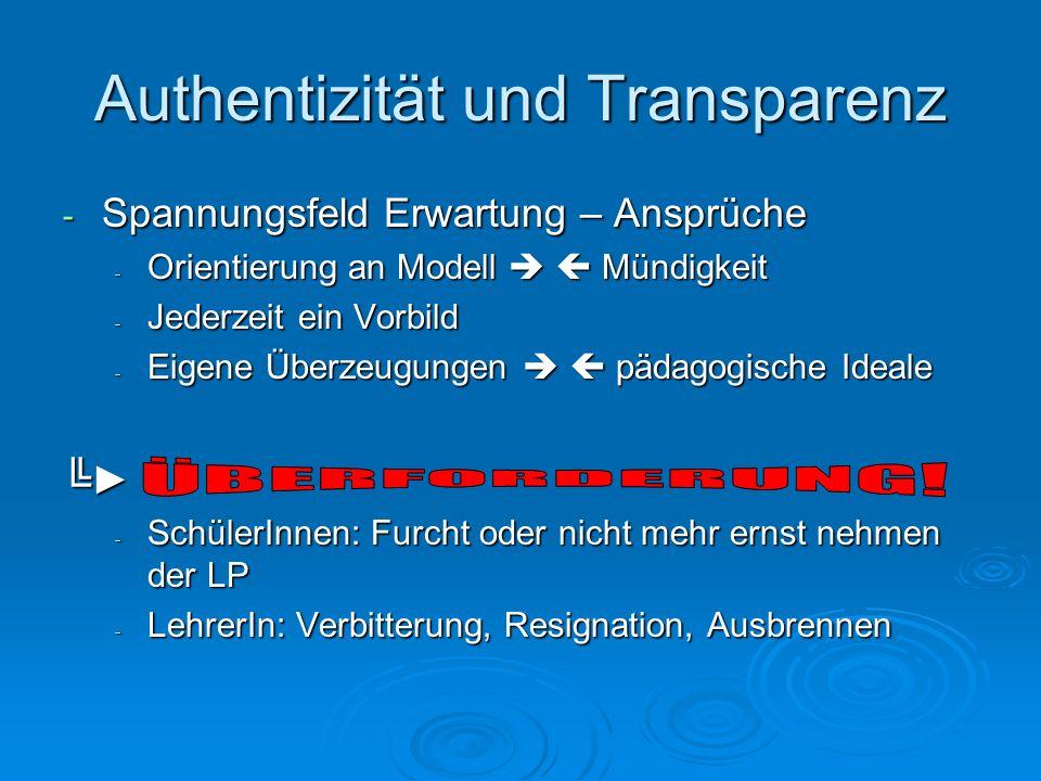 Authentizität und Transparenz - Spannungsfeld Erwartung – Ansprüche - Orientierung an Modell Mündigkeit - Jederzeit ein Vorbild - Eigene Überzeugungen