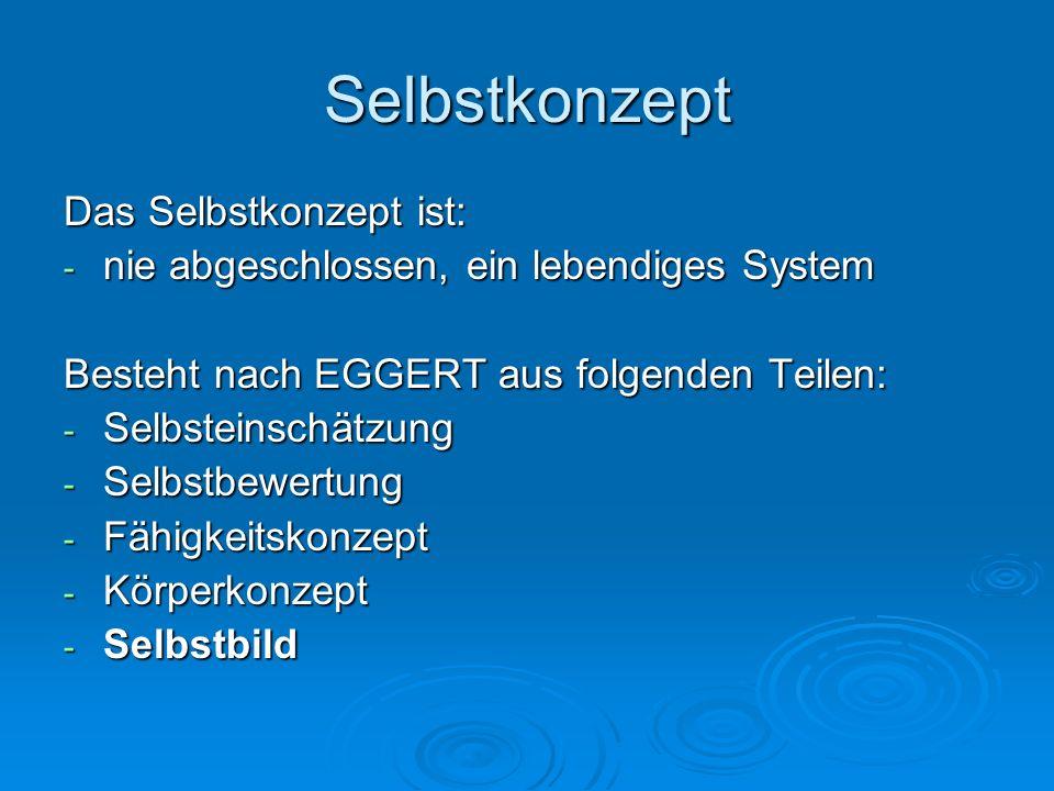 Selbstkonzept Das Selbstkonzept ist: - nie abgeschlossen, ein lebendiges System Besteht nach EGGERT aus folgenden Teilen: - Selbsteinschätzung - Selbs
