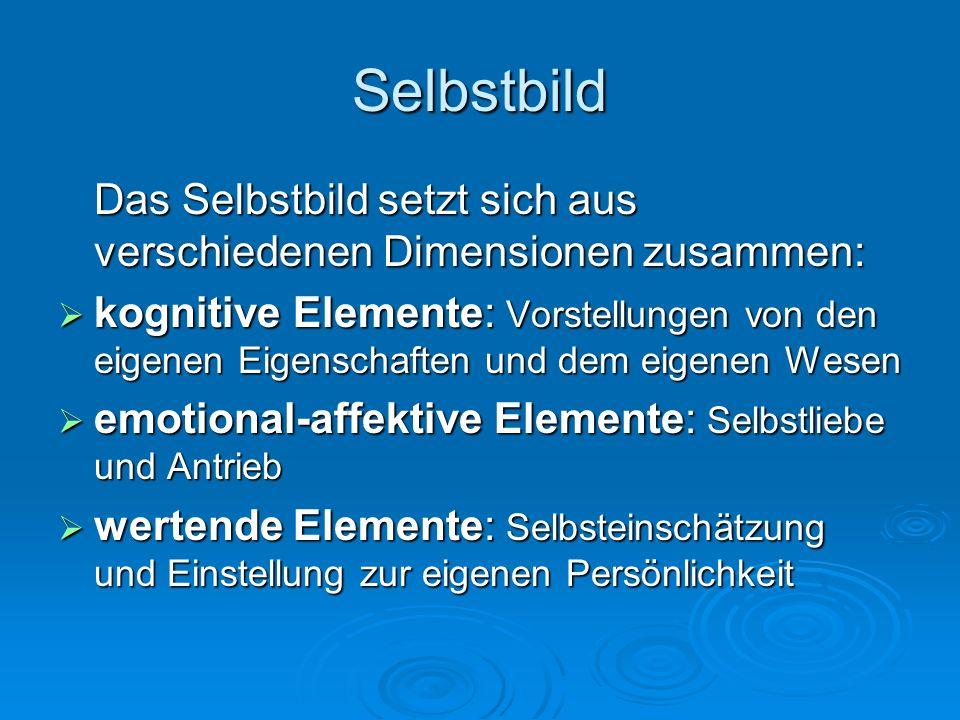 Selbstbild Das Selbstbild setzt sich aus verschiedenen Dimensionen zusammen: kognitive Elemente: Vorstellungen von den eigenen Eigenschaften und dem e
