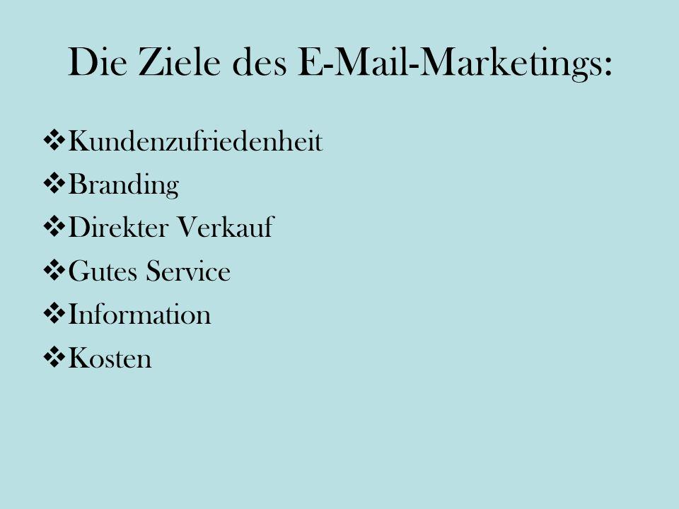 Die Ziele des E-Mail-Marketings: Kundenzufriedenheit Branding Direkter Verkauf Gutes Service Information Kosten