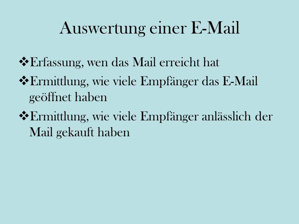 Auswertung einer E-Mail Erfassung, wen das Mail erreicht hat Ermittlung, wie viele Empfänger das E-Mail geöffnet haben Ermittlung, wie viele Empfänger anlässlich der Mail gekauft haben