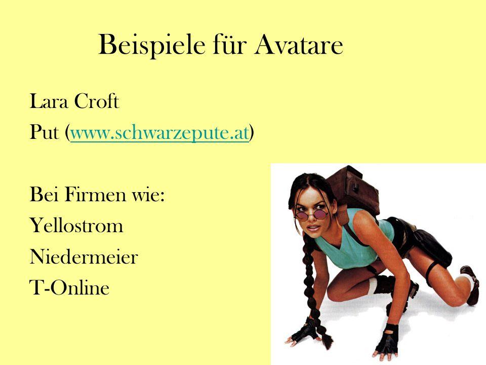 Beispiele für Avatare Lara Croft Put (www.schwarzepute.at)www.schwarzepute.at Bei Firmen wie: Yellostrom Niedermeier T-Online