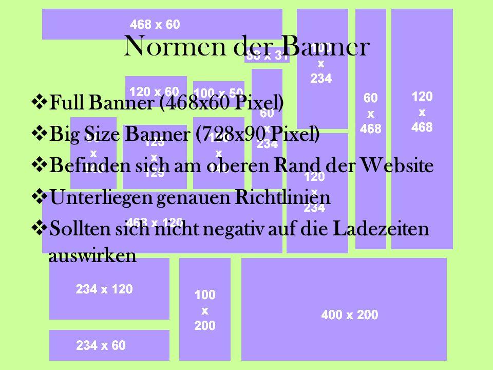 Normen der Banner Full Banner (468x60 Pixel) Big Size Banner (728x90 Pixel) Befinden sich am oberen Rand der Website Unterliegen genauen Richtlinien Sollten sich nicht negativ auf die Ladezeiten auswirken