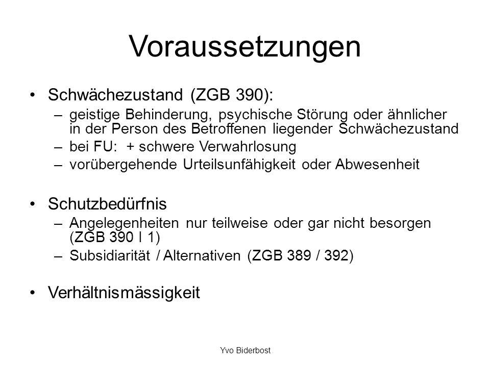 Voraussetzungen Schwächezustand (ZGB 390): –geistige Behinderung, psychische Störung oder ähnlicher in der Person des Betroffenen liegender Schwächezu