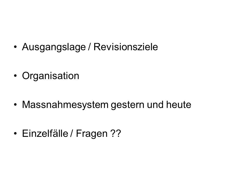 Ausgangslage / Revisionsziele Organisation Massnahmesystem gestern und heute Einzelfälle / Fragen ??