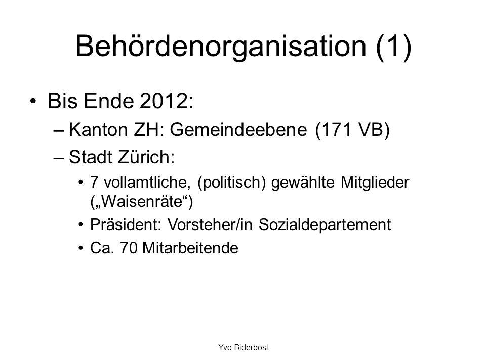 Behördenorganisation (1) Bis Ende 2012: –Kanton ZH: Gemeindeebene (171 VB) –Stadt Zürich: 7 vollamtliche, (politisch) gewählte Mitglieder (Waisenräte)
