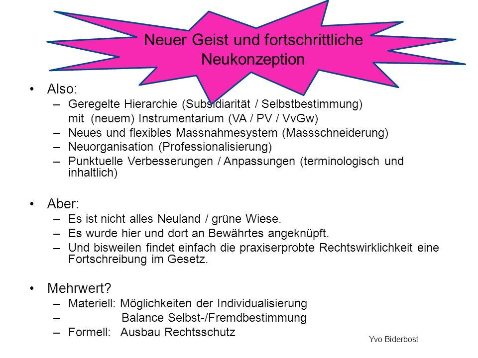 Also: –Geregelte Hierarchie (Subsidiarität / Selbstbestimmung) mit (neuem) Instrumentarium (VA / PV / VvGw) –Neues und flexibles Massnahmesystem (Mass