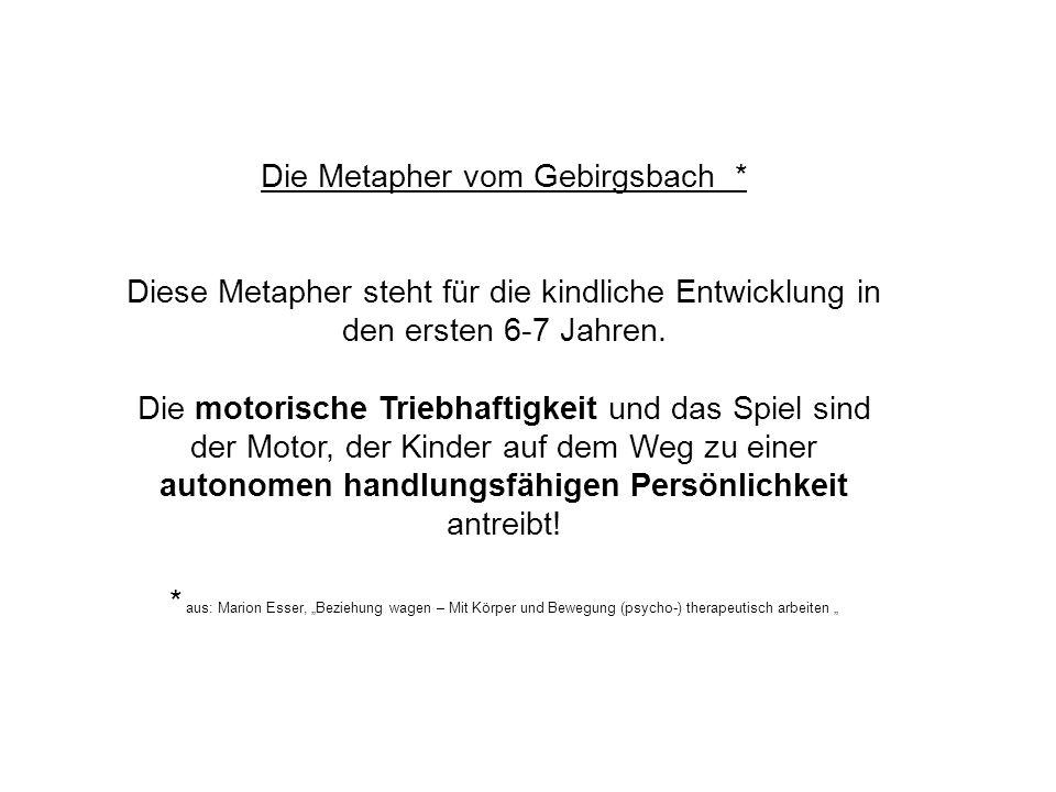 Die Metapher vom Gebirgsbach * Diese Metapher steht für die kindliche Entwicklung in den ersten 6-7 Jahren. Die motorische Triebhaftigkeit und das Spi