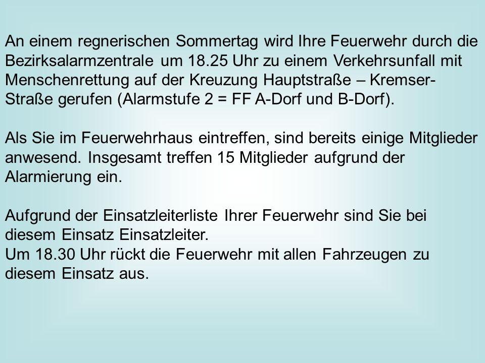 An einem regnerischen Sommertag wird Ihre Feuerwehr durch die Bezirksalarmzentrale um 18.25 Uhr zu einem Verkehrsunfall mit Menschenrettung auf der Kreuzung Hauptstraße – Kremser- Straße gerufen (Alarmstufe 2 = FF A-Dorf und B-Dorf).