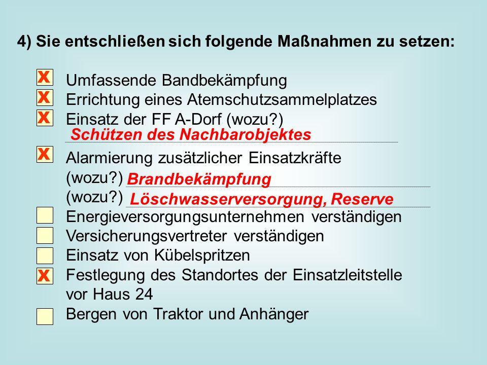 4) Sie entschließen sich folgende Maßnahmen zu setzen: Umfassende Bandbekämpfung Errichtung eines Atemschutzsammelplatzes Einsatz der FF A-Dorf (wozu?