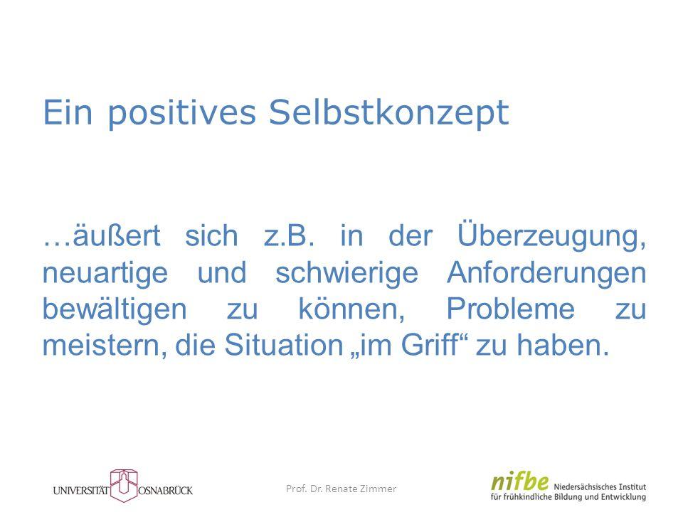 Ein positives Selbstkonzept …äußert sich z.B. in der Überzeugung, neuartige und schwierige Anforderungen bewältigen zu können, Probleme zu meistern, d