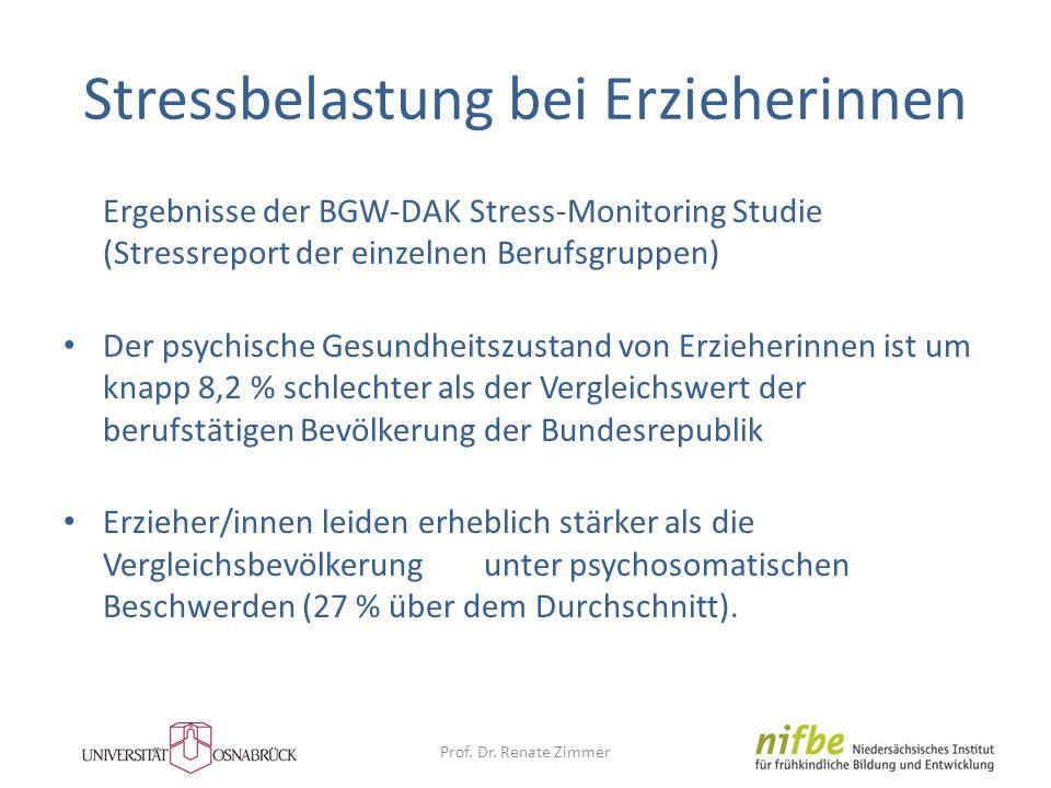 Stressbelastung bei Erzieherinnen Ergebnisse der BGW-DAK Stress-Monitoring Studie (Stressreport der einzelnen Berufsgruppen) Der psychische Gesundheit