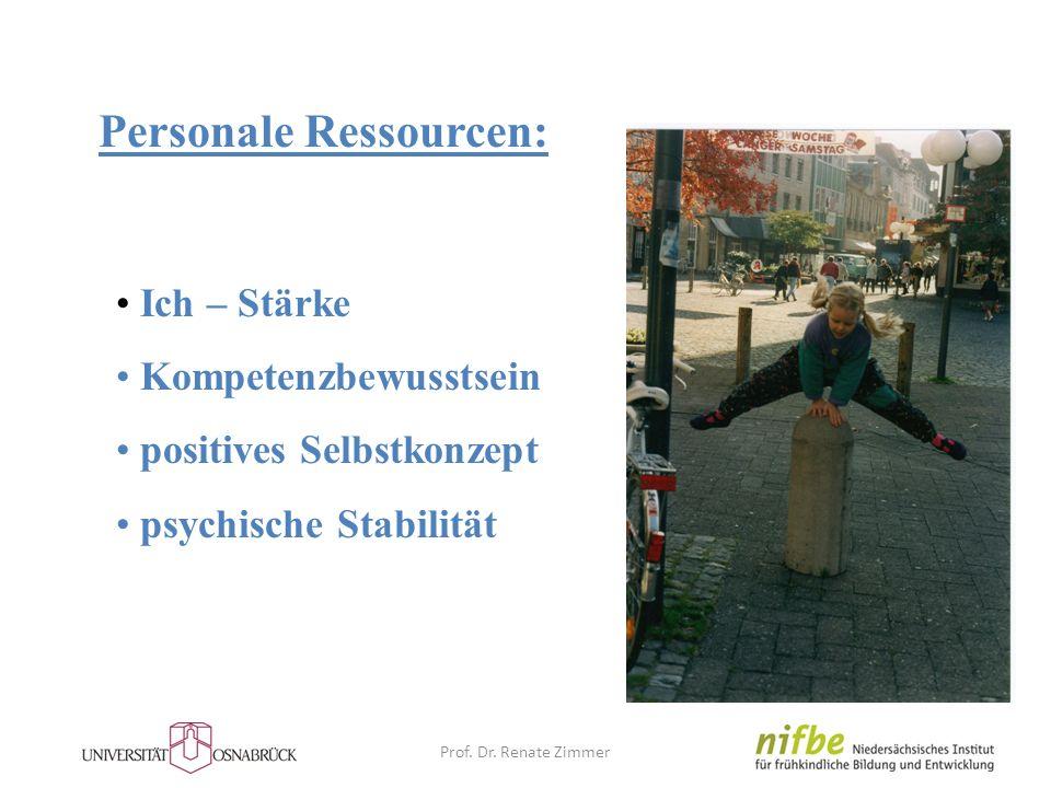 Personale Ressourcen: Ich – Stärke Kompetenzbewusstsein positives Selbstkonzept psychische Stabilität Prof. Dr. Renate Zimmer
