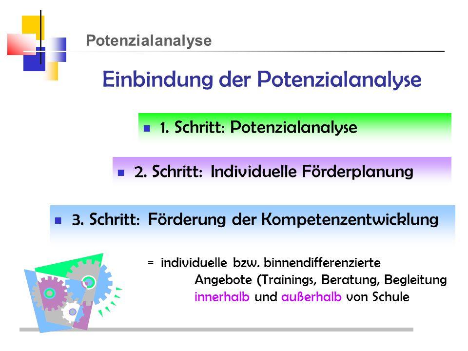 Potenzialanalyse Einbindung der Potenzialanalyse 1.