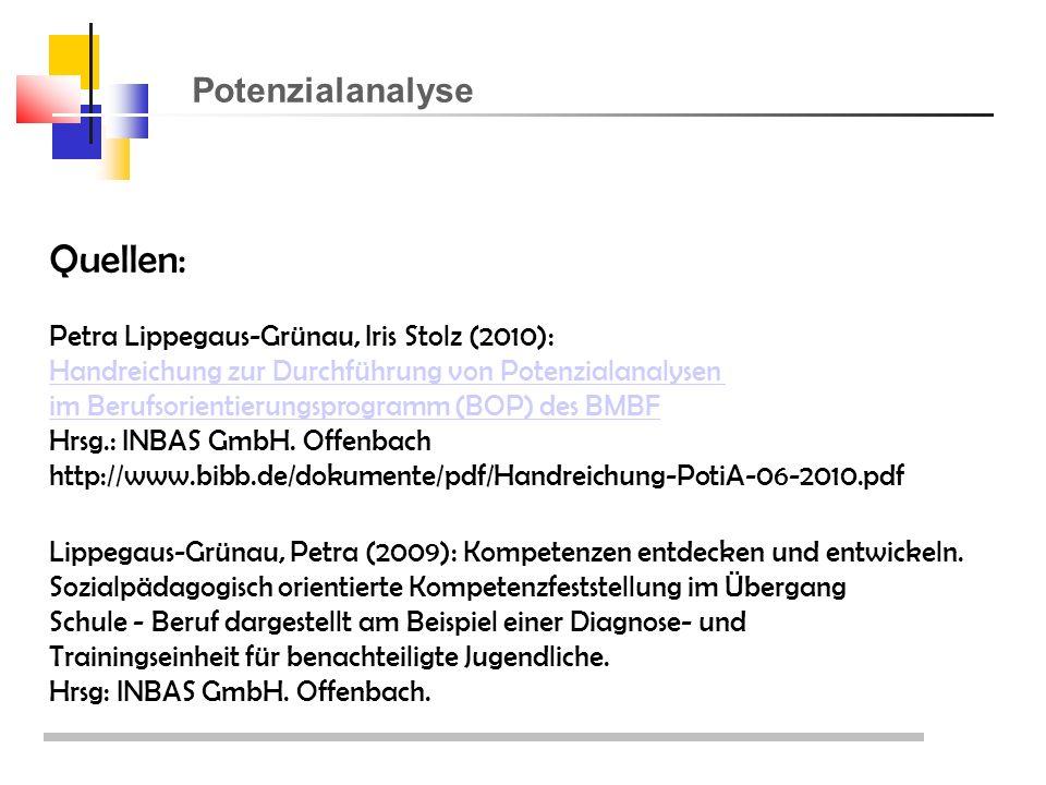 Potenzialanalyse Quellen: Petra Lippegaus-Grünau, Iris Stolz (2010): Handreichung zur Durchführung von Potenzialanalysen im Berufsorientierungsprogramm (BOP) des BMBF Hrsg.: INBAS GmbH.