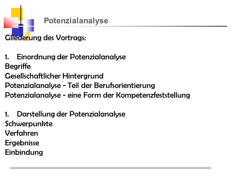 Potenzialanalyse Gliederung des Vortrags: 1.Einordnung der Potenzialanalyse Begriffe Gesellschaftlicher Hintergrund Potenzialanalyse - Teil der Berufsorientierung Potenzialanalyse - eine Form der Kompetenzfeststellung 1.Darstellung der Potenzialanalyse Schwerpunkte Verfahren Ergebnisse Einbindung