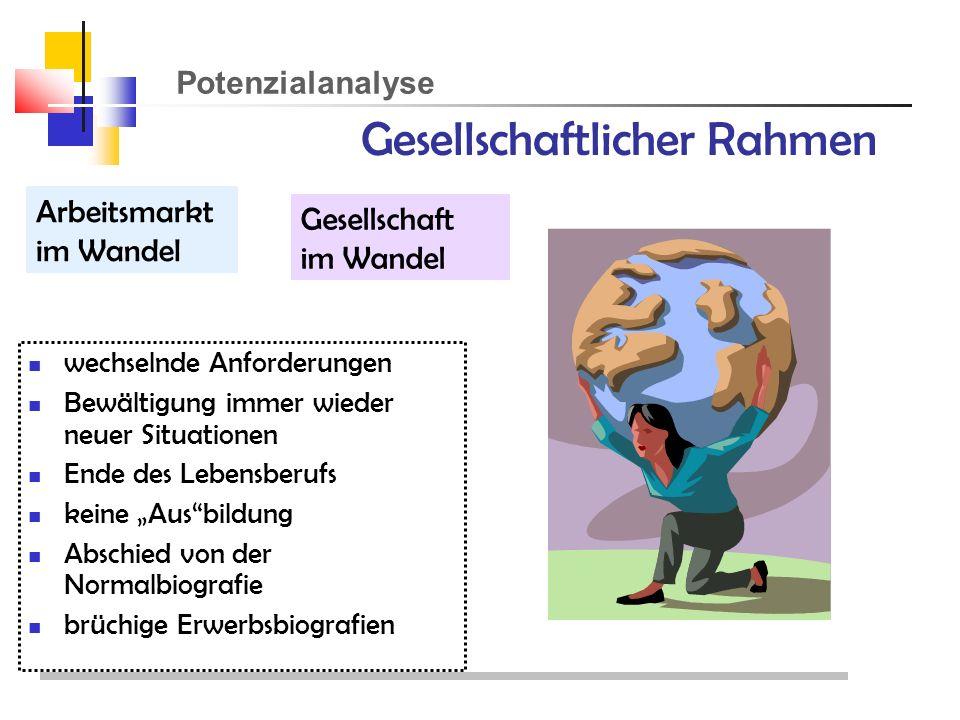 Potenzialanalyse Gesellschaftlicher Rahmen Arbeitsmarkt im Wandel Gesellschaft im Wandel wechselnde Anforderungen Bewältigung immer wieder neuer Situationen Ende des Lebensberufs keine Ausbildung Abschied von der Normalbiografie brüchige Erwerbsbiografien