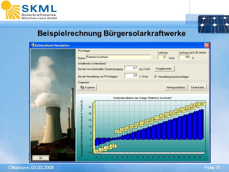 Folie 15Ottobrunn, 03.03.2008 Beispielrechnung Bürgersolarkraftwerke