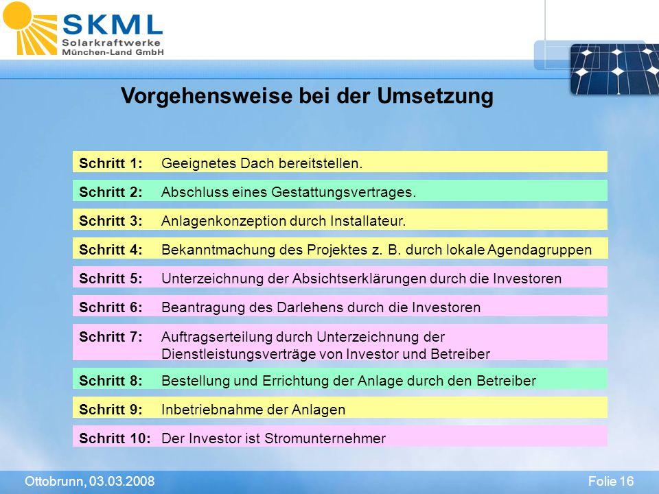 Folie 16Ottobrunn, 03.03.2008 Vorgehensweise bei der Umsetzung Schritt 1:Geeignetes Dach bereitstellen. Schritt 2:Abschluss eines Gestattungsvertrages