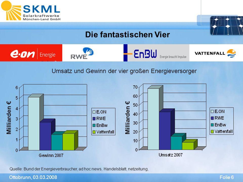 Folie 7Ottobrunn, 03.03.2008 Investieren wir in den Ausbau erneuerbarer Energien.