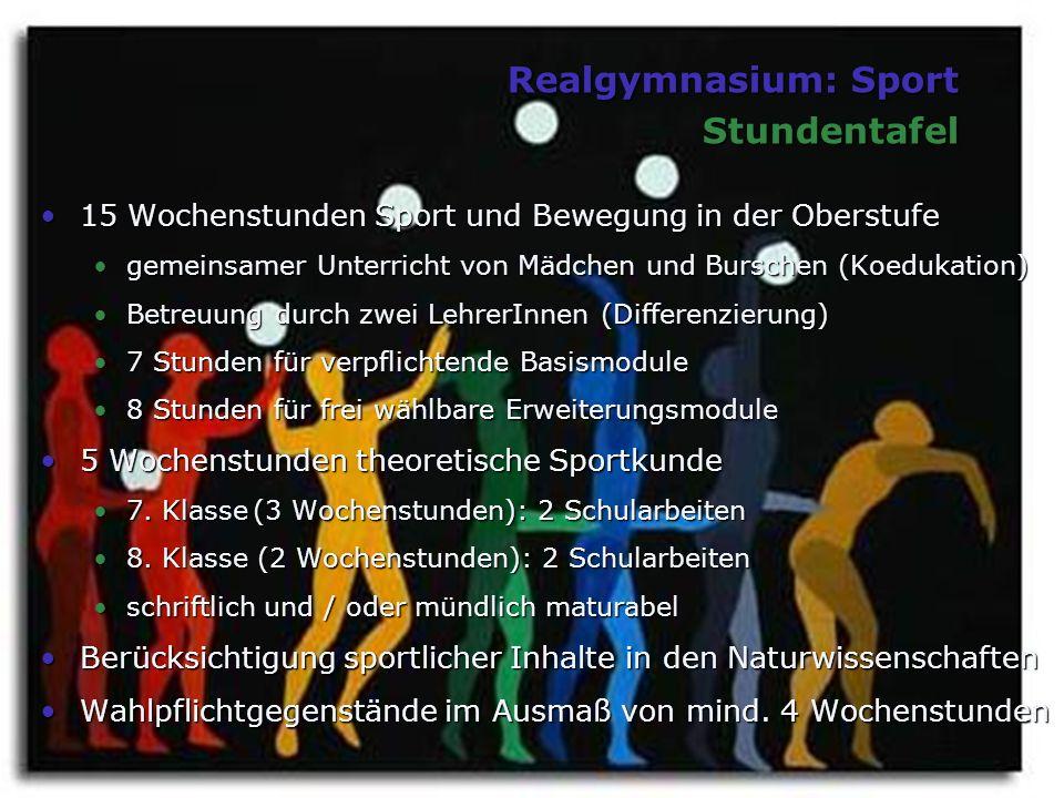 Realgymnasium: Sport Stundentafel 15 Wochenstunden Sport und Bewegung in der Oberstufe15 Wochenstunden Sport und Bewegung in der Oberstufe gemeinsamer