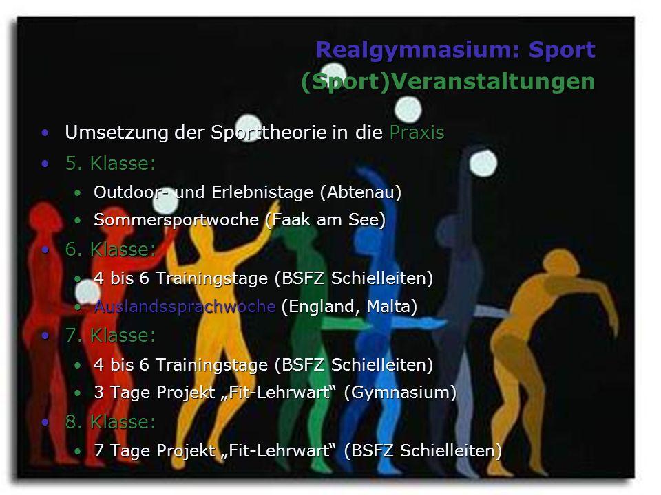 Realgymnasium: Sport (Sport)Veranstaltungen Umsetzung der Sporttheorie in die PraxisUmsetzung der Sporttheorie in die Praxis 5. Klasse:5. Klasse: Outd