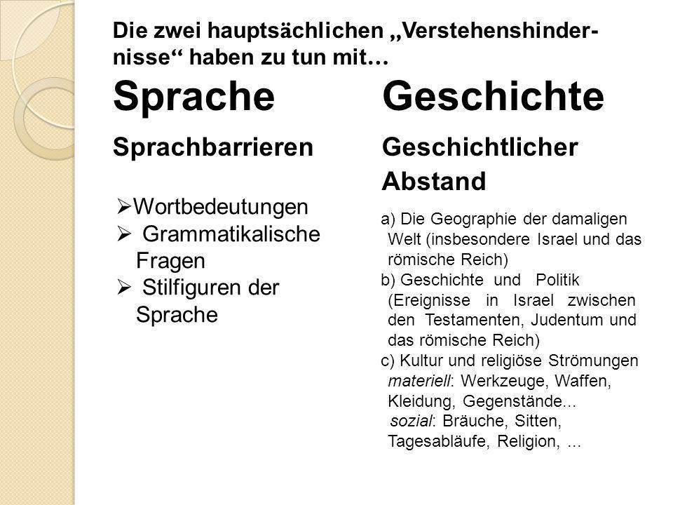 Die zwei haupts ä chlichen Verstehenshinder- nisse haben zu tun mit … Sprache Geschichte Sprachbarrieren Geschichtlicher Abstand Wortbedeutungen Gramm