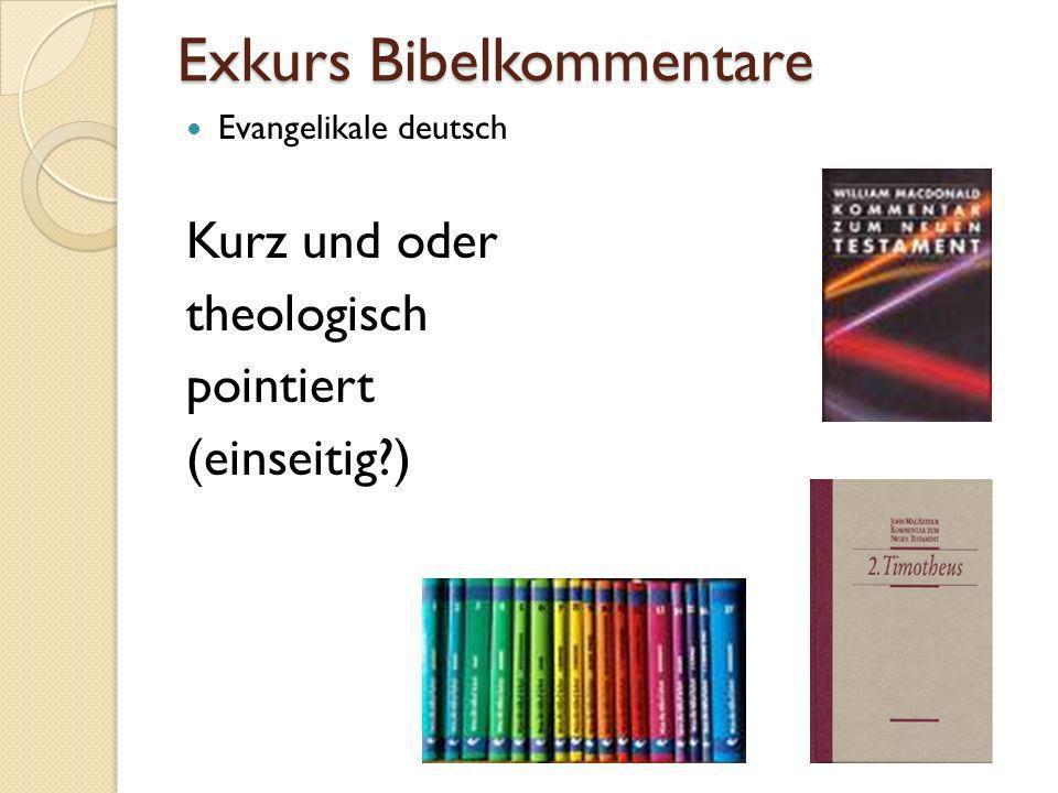 Exkurs Bibelkommentare Evangelikale deutsch Kurz und oder theologisch pointiert (einseitig?)