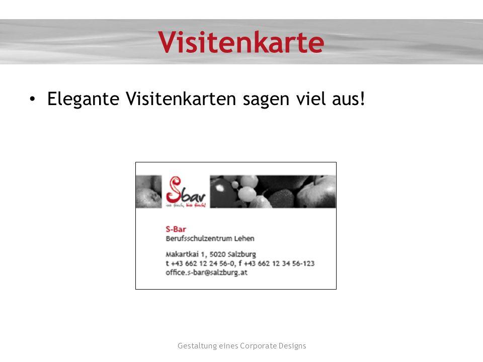 Visitenkarte Elegante Visitenkarten sagen viel aus! Gestaltung eines Corporate Designs