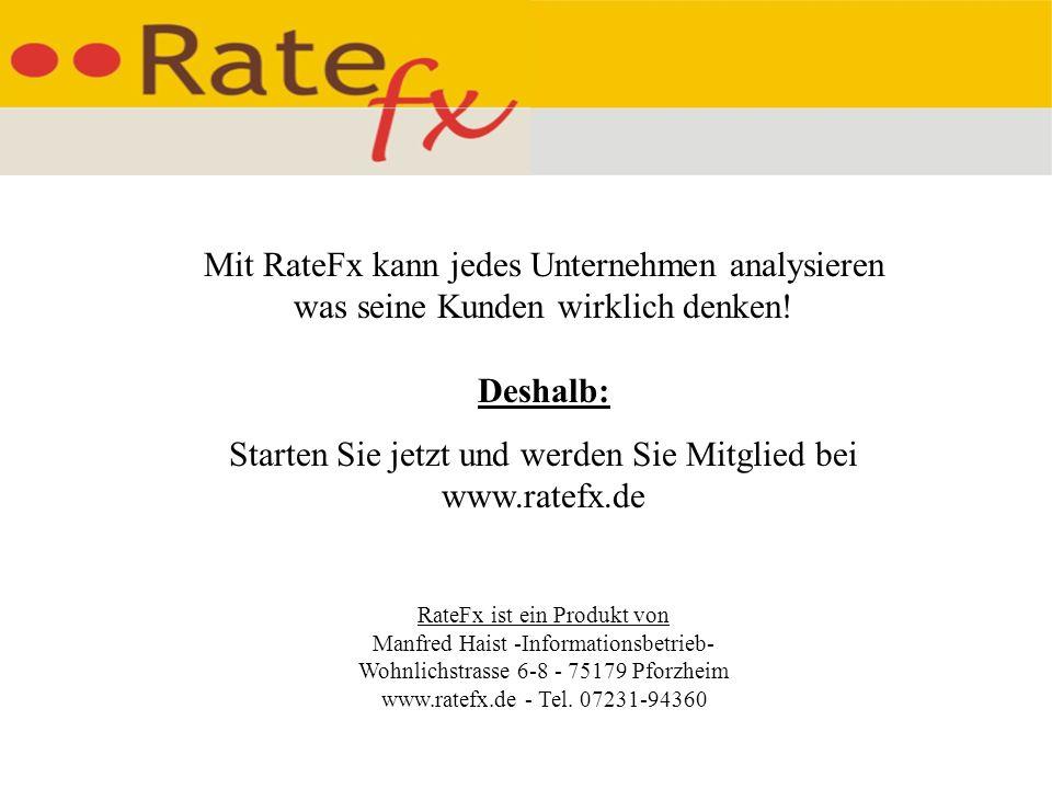 Mit RateFx kann jedes Unternehmen analysieren was seine Kunden wirklich denken.