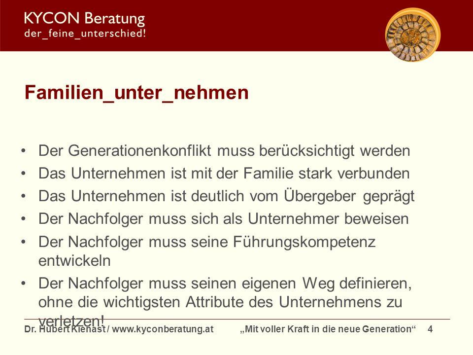 Dr. Hubert Kienast / www.kyconberatung.at Mit voller Kraft in die neue Generation 4 Familien_unter_nehmen Der Generationenkonflikt muss berücksichtigt