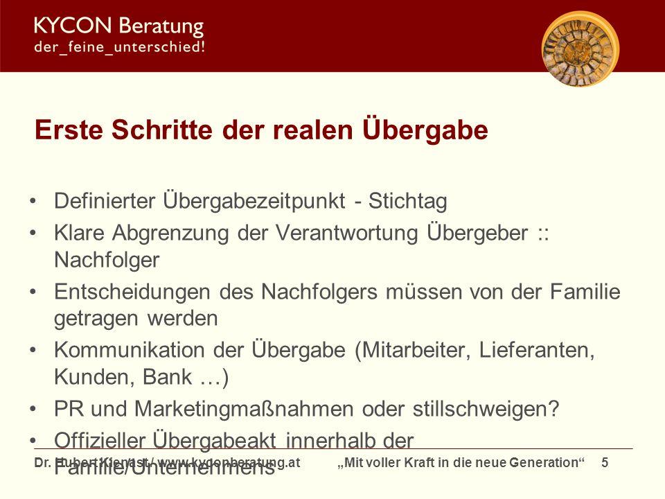 Dr. Hubert Kienast / www.kyconberatung.at Mit voller Kraft in die neue Generation 5 Erste Schritte der realen Übergabe Definierter Übergabezeitpunkt -