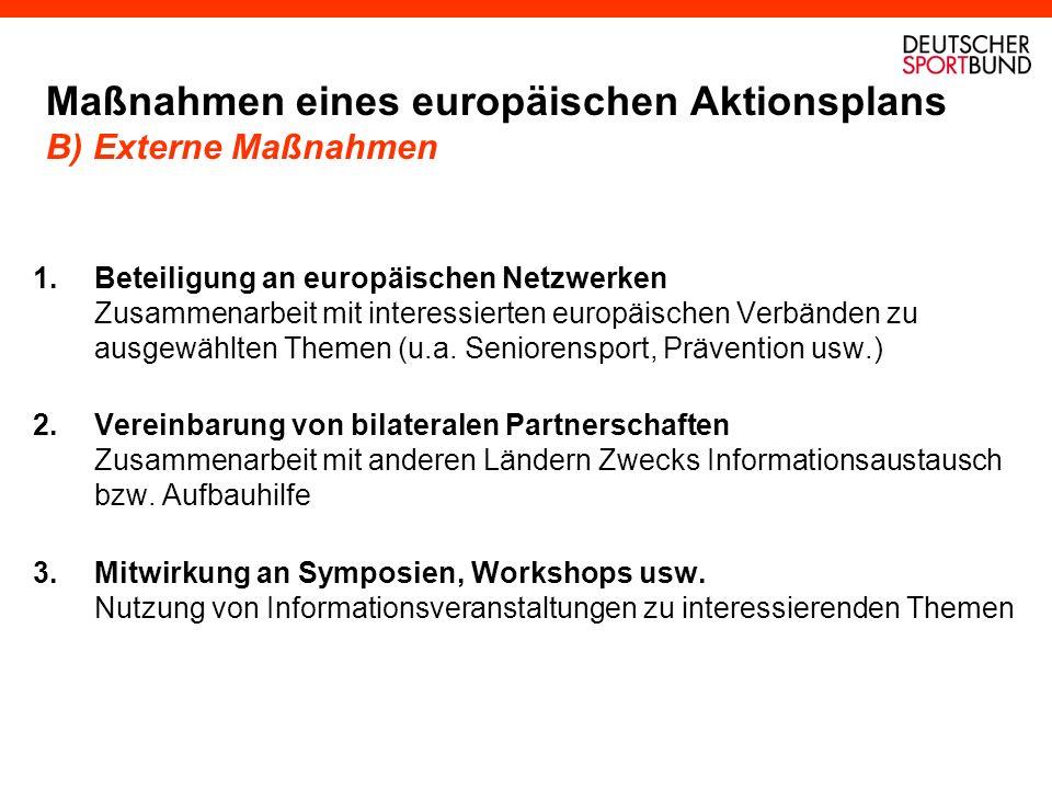 Maßnahmen eines europäischen Aktionsplans B) Externe Maßnahmen 1.Beteiligung an europäischen Netzwerken Zusammenarbeit mit interessierten europäischen Verbänden zu ausgewählten Themen (u.a.