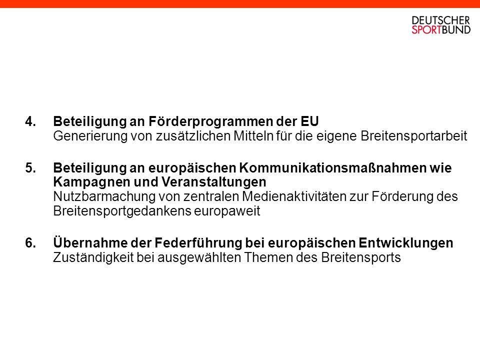 4.Beteiligung an Förderprogrammen der EU Generierung von zusätzlichen Mitteln für die eigene Breitensportarbeit 5.Beteiligung an europäischen Kommunik