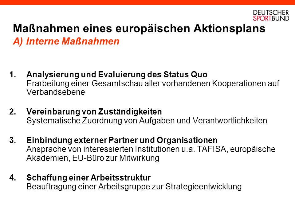Maßnahmen eines europäischen Aktionsplans A) Interne Maßnahmen 1.Analysierung und Evaluierung des Status Quo Erarbeitung einer Gesamtschau aller vorha