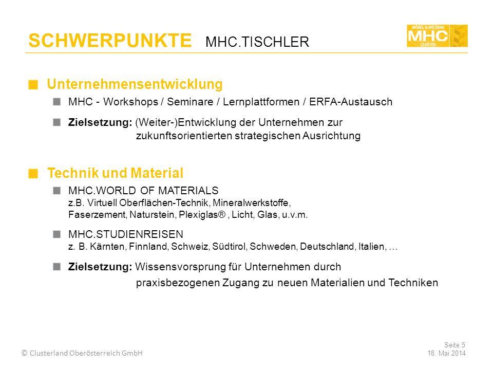 Unternehmensentwicklung MHC - Workshops / Seminare / Lernplattformen / ERFA-Austausch Zielsetzung: (Weiter-)Entwicklung der Unternehmen zur zukunftsorientierten strategischen Ausrichtung Technik und Material MHC.WORLD OF MATERIALS z.B.