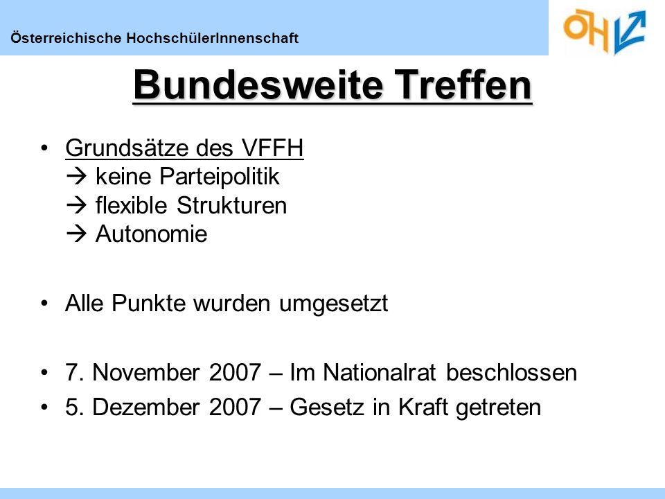 Österreichische HochschülerInnenschaft Bundesweite Treffen Grundsätze des VFFH keine Parteipolitik flexible Strukturen Autonomie Alle Punkte wurden umgesetzt 7.