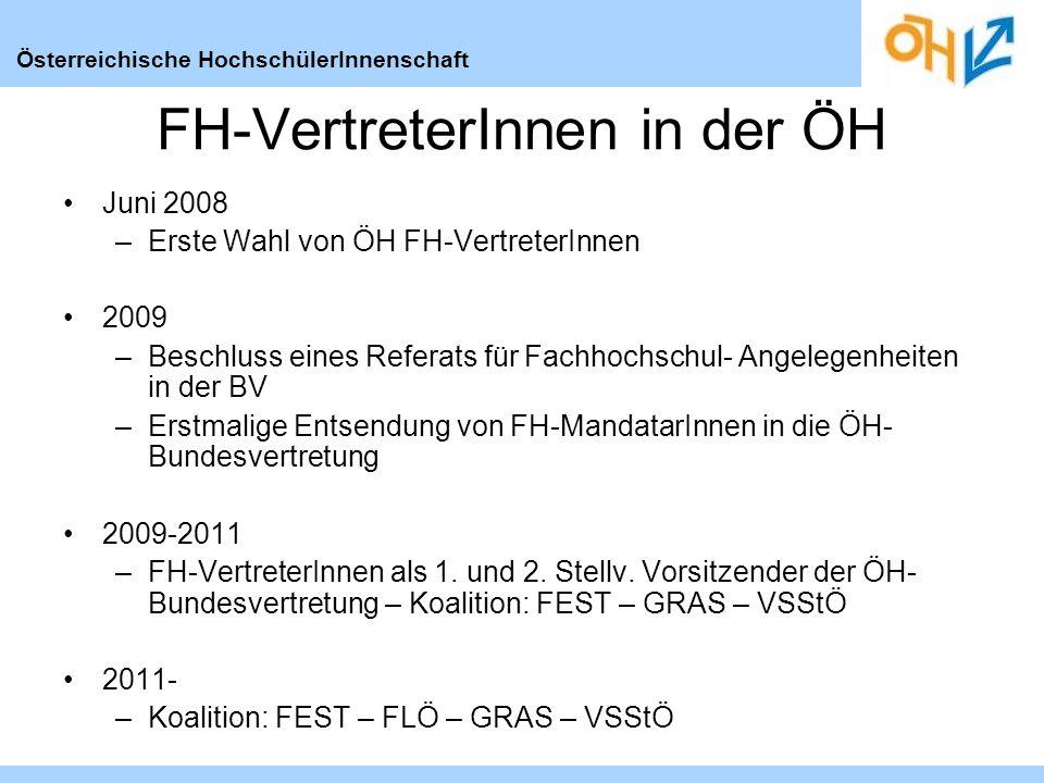 Österreichische HochschülerInnenschaft FH-VertreterInnen in der ÖH Juni 2008 –Erste Wahl von ÖH FH-VertreterInnen 2009 –Beschluss eines Referats für Fachhochschul- Angelegenheiten in der BV –Erstmalige Entsendung von FH-MandatarInnen in die ÖH- Bundesvertretung 2009-2011 –FH-VertreterInnen als 1.