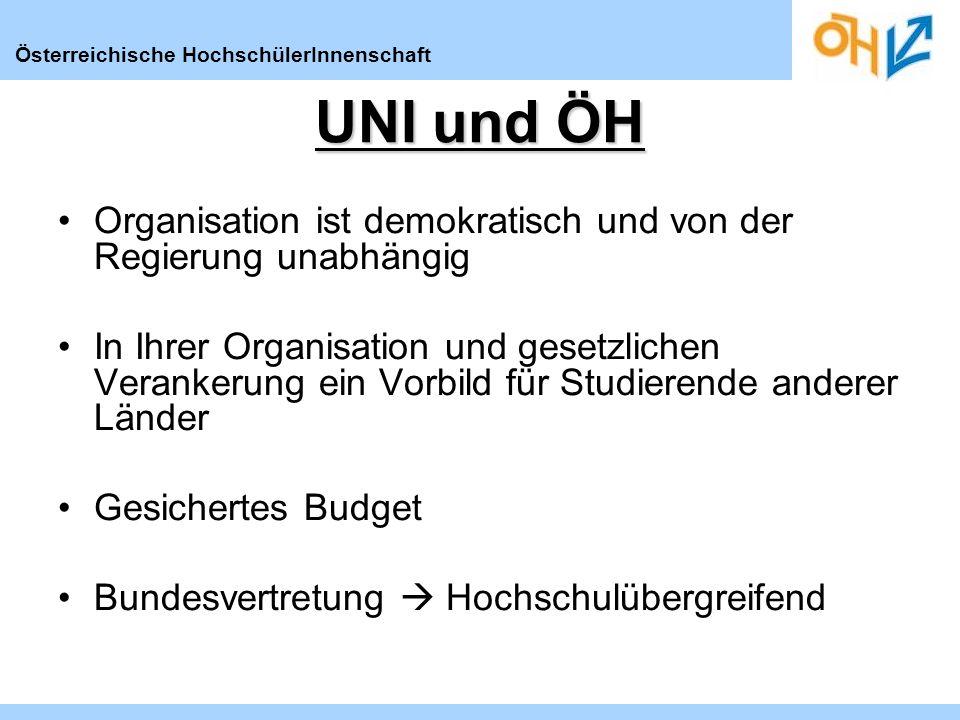 Österreichische HochschülerInnenschaft UNI und ÖH Organisation ist demokratisch und von der Regierung unabhängig In Ihrer Organisation und gesetzlichen Verankerung ein Vorbild für Studierende anderer Länder Gesichertes Budget Bundesvertretung Hochschulübergreifend