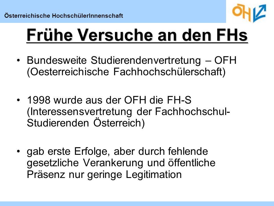 Österreichische HochschülerInnenschaft Frühe Versuche an den FHs Bundesweite Studierendenvertretung – OFH (Oesterreichische Fachhochschülerschaft) 1998 wurde aus der OFH die FH-S (Interessensvertretung der Fachhochschul- Studierenden Österreich) gab erste Erfolge, aber durch fehlende gesetzliche Verankerung und öffentliche Präsenz nur geringe Legitimation